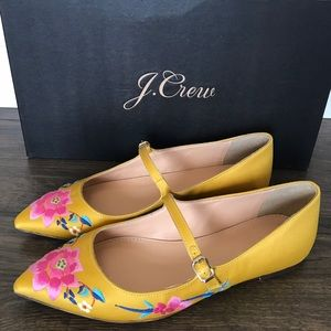 J.CREW Embroidered Satin Leather Mary Jane Flat 9